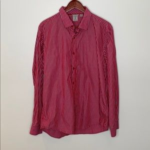 Tristan Men Red Blue Striped Long Sleeve Button Down Fitted Classy Shirt Size XL